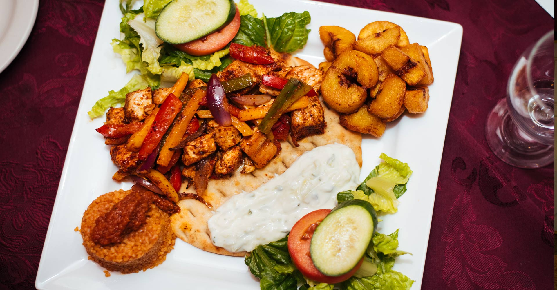 3 types of food : African, Greek and the fusion of both